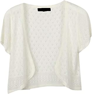 Women Casual Short Sleeve Cotton Cardigan Hollow Out Knitted Top Blouse Shirt