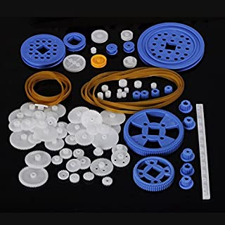 80 Pcs Plastic RC Parts Lot, Plastic Gears, Pulley, Belt, Rack Gear Kit Gearbox Motor Gear Set for DIY Car Robot