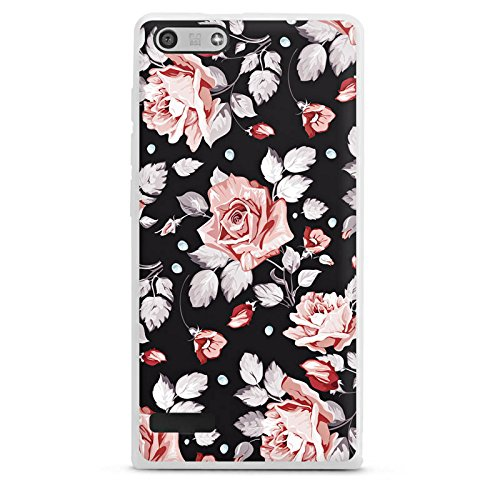 DeinDesign Silikon Hülle kompatibel mit Huawei Ascend P7 Mini Hülle weiß Handyhülle Rose Blume Pattern