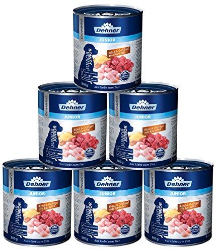 Dehner Premium Hundefutter Junior, Rind, Geflügel und Kartoffel, 6 x 800 g (4.8 kg)