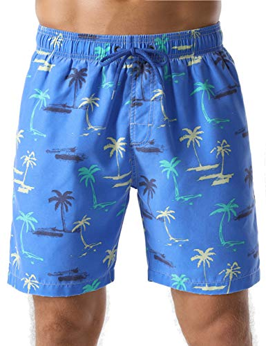 Nonwe Men's Swim Shorts Coconut Palm Printed Hawaiian Soft Washed Board Shorts Light Blue 32