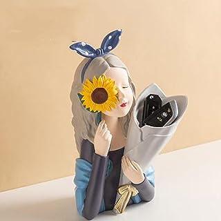 WZHZJ Résine créative bouquet girl ornements de sculpture cadeau salon salle d'arrangement conteneur maison décoration acc...