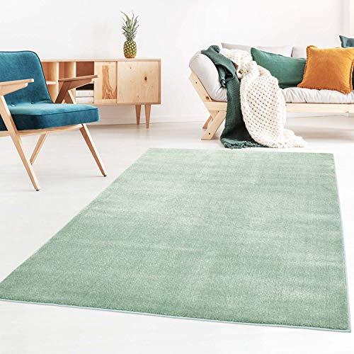 Taracarpet Kurzflor-Designer Uni Teppich extra weich fürs Wohnzimmer, Schlafzimmer, Esszimmer oder Kinderzimmer Gala Mint grün 060x090 cm