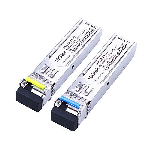 a Pair of 1.25G SFP Bidi Transceiver 1000Base-BIDI, 1550nm/1310nm SMF, up to 2 km, for Cisco, Ubiquiti, Mikrotik, D-Link, Supermicro, Netgear and More.