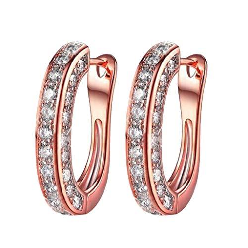 Pendientes De Diamantes Redondos Para Mujer(Oro Rosa)