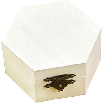 Kentop - Caja hexagonal de madera con tapa para joyero, caja de regalo, caja de regalo, para pintar, manualidades: Amazon.es: Hogar
