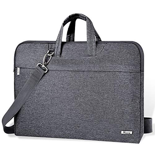Voova Laptop Bag 17 17.3 inch Water-resistant Laptop Sleeve Case with Shoulder Straps & Handle/Notebook Computer Case Briefcase Compatible with MacBook/Acer/Asus/Hp, Gray