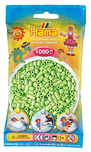 Hama Perlen 207-47 Bügelperlen Beutel mit ca. 1.000 Midi Bastelperlen mit Durchmesser 5 mm in Pastell Grün, kreativer Bastelspaß für Groß und Klein