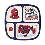 Stor Spiderman 4 Section Divided Kids Children's Toddlers Wooden Colourful Dinner Plate, BPA Free