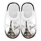 Zapatillas para hombre y mujer, con forro de felpa de la torre Eiffel cómodo, cálido forro polar coral para casa para interior y exterior