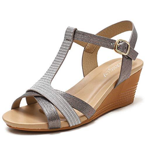 XIANGLV Cuñas Sandalias para mujer Sandalias de tacones altos Pendiente bohemia con zapatos romanos Verano para mujer Tiras de punta cerrada Talla plana Flops (gris, 41)
