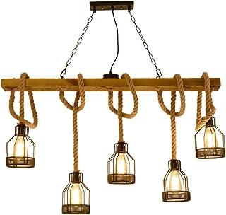 Lámpara colgante Vintage Retro, lámpara colgante de madera de cuerda de cáñamo, iluminación colgante de isla de cocina lámparas de techo de estilo industrial, lámparas para cafetería-restaurante 5xE27
