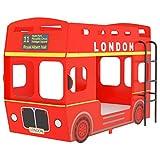 vidaXL Litera London Bus Cama Alta Estructura Infantil Juvenil Niños Adultos Doble Muebles Coche Autobús Dormitorio...