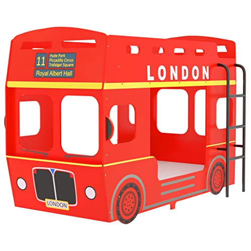 vidaXL Litera London Bus Cama Alta Estructura Infantil Juvenil Niños Adultos Doble Muebles Coche Autobús Dormitorio Hogar Rojo MDF 90x200 cm