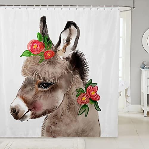 Loussiesd Kinder Esel Duschvorhang 180x210cm für Mädchen Jungen Kinder Karikatur Farm Tier Dekorativer Niedlicher Kleiner Esel Duschvorhang Textil Blumen Blumen