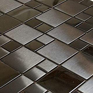 "Black Stainless Steel Metal French Pattern Mosaic Tile for Kitchen Backsplash (3"" x 6"" Sample $7.99)"