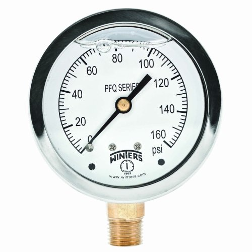 Winters PFQ Series Stainless Steel 304 Single Scale Liquid Filled Pressure Gauge with Brass Internals, 0-160 psi, 2-1/2