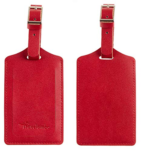 Travelambo Leather Luggage Bag Tags (Deep Red)