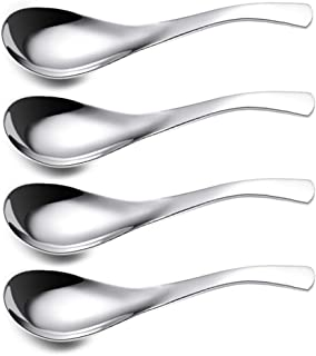 ERCRYSTO Stainless Steel Spoon, Set of 4, Soup Spoon, Coffee Spoon, Desert Spoon, etc. Light Weight and Small Size Especially Suitable for Toddlers, Children, Espresso etc.