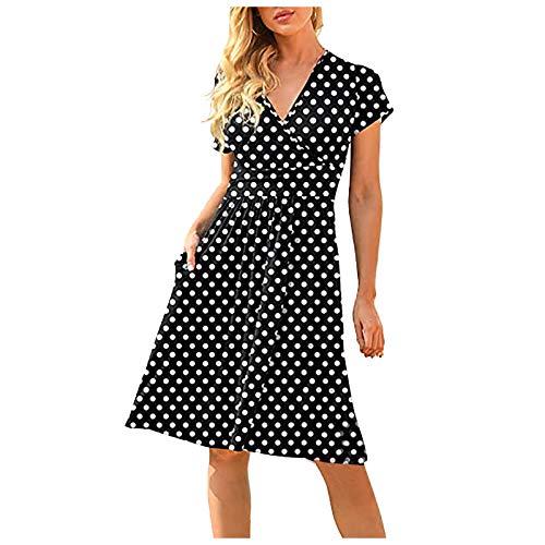 Julhold Midikleid Ballkleid Partykleid Sommerkleid Damen Sommer Lässig Kurzärmeligen V-Ausschnitt Kurze Quadratische Rock Taschen Slim Kleid Skater Rock(Weiß,L)