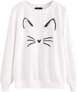 ROMWE Women's Cat Print Lightweight Sweatshirt Long Sleeve Casual Pullover Shirt