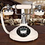 Resin Imitation Copper Retro Old Fashioned Rotary Dial Antique Telephone, Landline Home, Office Fixed Telephone, Old-Fashioned Button Retro One-Key Redial Telephone, Creative Home Office Telephone