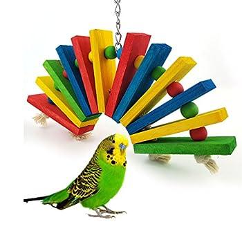 Keersi Jouet coloré en bois pour oiseau, perroquet, ara, gris du Gabon, cacatoès, perruches, calopsittes, conures, amazones, jouet à mordre (style A)