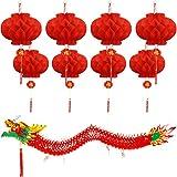 Mudder 8 Stück Chinesische Rote Papier Laternen und Chinesisch Neujahr Drache Hängend Chinesische Dekoration für Neujahr Frühlingsfest
