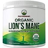 Polvo orgánico de melena de leones (cultivado en Estados Unidos) por Peak Performance. Suplemento nootrópico en polvo de melena de león orgánico USDA para memoria, enfoque, salud cerebral, apoyo...