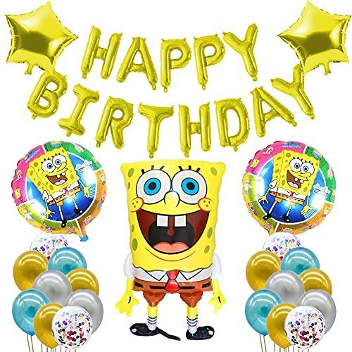 Decoración Fiesta de Globos, Kit Globos Látex,Globo Bob Esponjaglobo,Bob Esponja Suministros para Fiesta Cumpleaños Cake Toppers,Globo,Cumpleaños Banner Decoraciones Accesorios (24pcs)