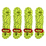 Reflective Nylon Cord, Tent Guyline Rope with Ultra-Light Aluminum Alloy Ceiling Rope Adjuster Fits Camping Hiking Backpacking,4 Pack 4MM 13 FT