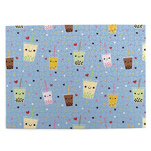 Happy Boba Bubble Tea Picture Puzzle 500 Piezas de Juego de Madera Rompecabezas Adultos Niños Decoración del hogar 20.4x15 (Pulgadas)