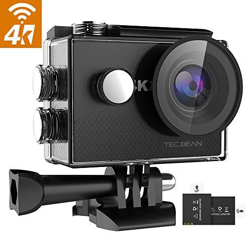 """TEC.BEAN 4K 16MP Action Cam, WiFi Ultra HD Action Camera, Fotocamera Subacquea Impermeabile 30M con Schermo LCD da 2\"""", Obiettivo Grandangolare 170 ° / 2 Batterie Ricaricabili / 19 Accessori"""