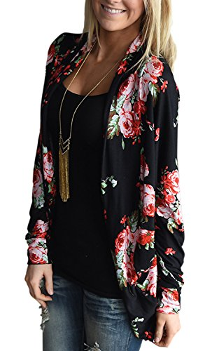 Womens Kimono Cardigans for Women Floral Cardigan Blouse Comfy Boho Wrap Casual Cover up Tops Outwear Black L