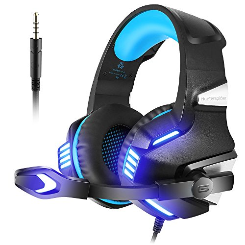 VersionTECH. Auriculares Gaming con Microfono Aislante,Sonido Envolvente,Luz LED,Volumen Control,Para PC/Tableta/PSP/PS4/Movil/Xbox One(Azul)