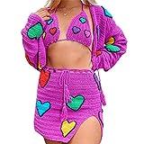 2 Piece Knitted Skirt Set for Women Sleeveless Y2k Cami Tank Crop Top Crochet Floral Mini Skirt Summer Dress