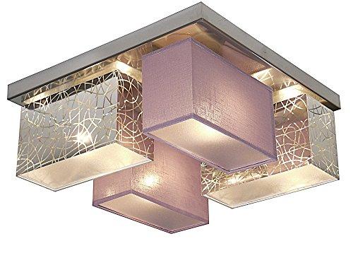 Deckenlampe - Wero Design Eris-004 F (Silber A/Lila Transparent) - Deckenleuchte, Leuchte, 4-flammig, Holz, Stoff, LAMPENSCHIRME MIT BLENDEN
