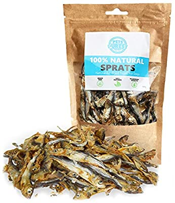 Pets Purest Natural Sprats Dog Treats 100% Pure Air-Dried Treats for Dogs - Just One Ingredient - Grain, Gluten & Lactose Free - Deliciously Healthy Raw Dog Treat for Dog Puppy Senior Adult (100g)