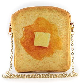 QiMing butter Toast Shoulder Bag,Cute Plush Food Crossbody Handbag for Women