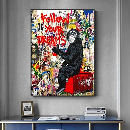 YCCYI Banksy Art Follow Your Dreams Singe Toile Peinture Graffiti Street Posters and Prints Wall Pictures for Living Room Decor 80x100cm (32x39in) Inner Frame