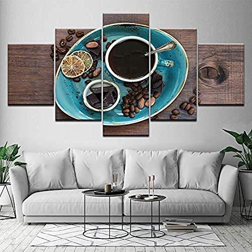 5 Gemälde Auf Leinwand Leinwand Gemälde Kaffeebohne Kaffee Schokolade 5 Stücke Wandkunst Malerei Modulare Papiere Gemälde Poster Print Für Wohnzimmer Dekor Frameless - Fünfteilige Gemälde