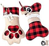 ABSOFINE Pet Christmas Stockings Dog Cat Paw 18