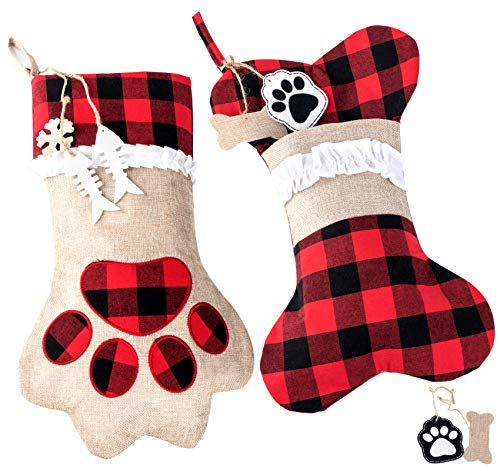 ABSOFINE Pet Christmas Stockings Dog Cat Paw 18' Puppy Stockings Hanging Christmas Decorations, Plaid Burlap Large Xmas Stockings, Set of 2