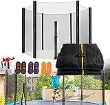 XIUWOUG Filet de Trampoline pour Exterieur Trampoline Enfant Ø 366cm,Filet de Sécurité Remplacement pour Trampoline avec Zip,Accessoires de Trampolines de Loisirs avec Chaussette 12FT