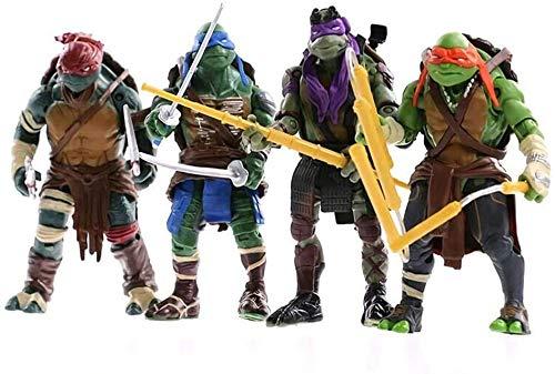 ZXLLY 4pcs/Set Teenage Mutant Ninja Turtles 2014 Movie Version Action Figures Anime Statuettes Collection Decorations Kids Gift Dolls Toy 15cm Ninja Turtles