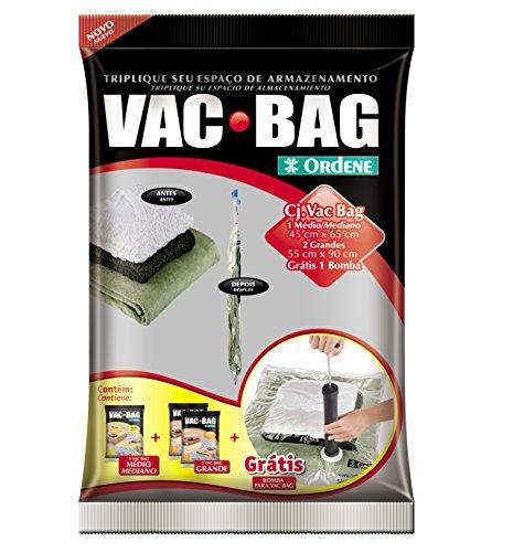 Conjunto de 3 Sacos para Armazenamento à Vácuo (sendo 1 Médio e 2 Grande) e Bomba Plástica, Vac Bag, Ordene.