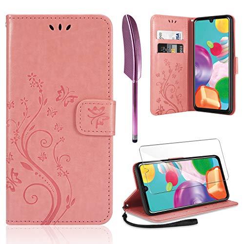 AROYI Lederhülle Kompatibel mit Samsung Galaxy A41 Hülle & Schutzfolie, Flip Wallet Handyhülle PU Leder Tasche Hülle Kartensteckplätzen Schutzhülle Kompatibel mit Samsung Galaxy A41 Rosa