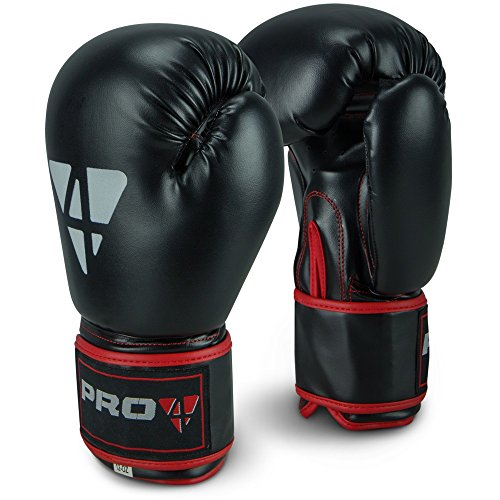 Pro4 Boxhandschuhe Fight - bestens geeignet für Boxen Kampfsport Kickboxen Fitness 8 10 12 14 16 oz unzen schwarz/rot 12oz