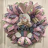 GREEN&RARE Corona de puerta frontal, decoraciones de Pascua, conejo, corona artificial, guirnalda para colgar en la pared, decoración del hogar