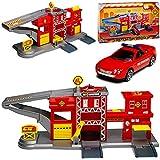 Motormax Feuerwehr Station mit Fahrzeug und Zubehör mit vielen Funktionen